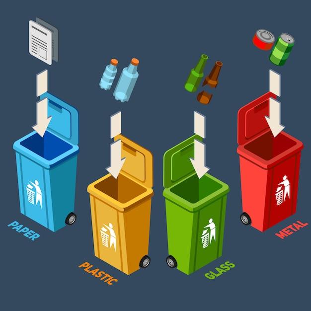 Illustrazione isometrica di gestione dei rifiuti Vettore gratuito