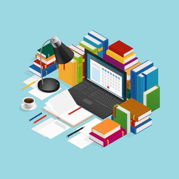 Illustrazione isometrica di libri educativi Vettore gratuito