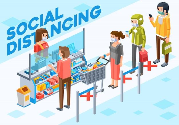 Illustrazione isometrica di persone che fanno allontanamento sociale quando effettuano il pagamento alla cassa in supermercato Vettore Premium