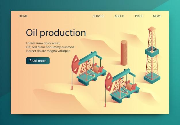 Illustrazione isometrica di produzione di olio dell'illustrazione. Vettore Premium