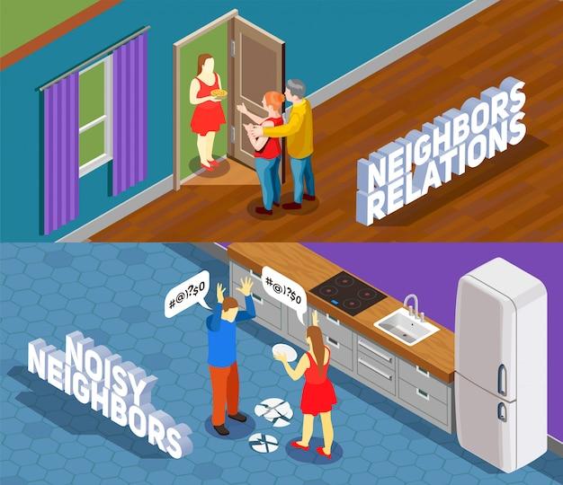 Illustrazione isometrica di relazioni di vicini Vettore gratuito