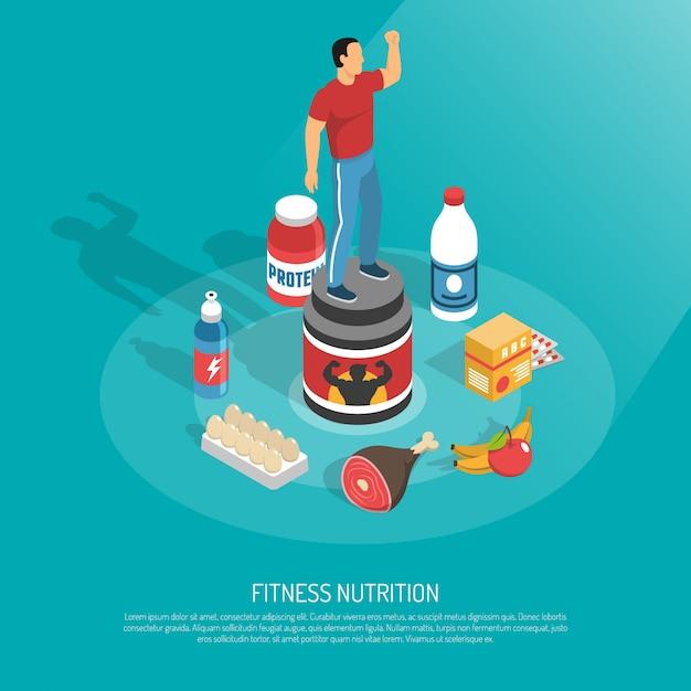 Illustrazione isometrica di supplementi di nutrizione di forma fisica Vettore gratuito