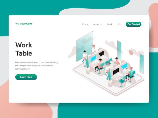 Illustrazione isometrica di tavolo di lavoro. pagina di destinazione Vettore Premium