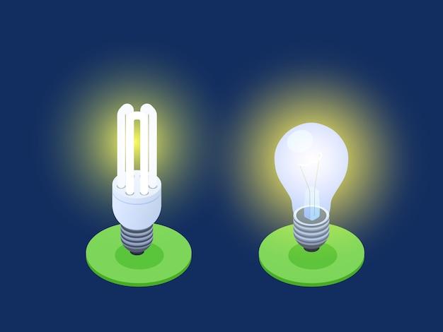 Illustrazione isometrica di vettore delle lampade del risparmio energetico e led Vettore Premium