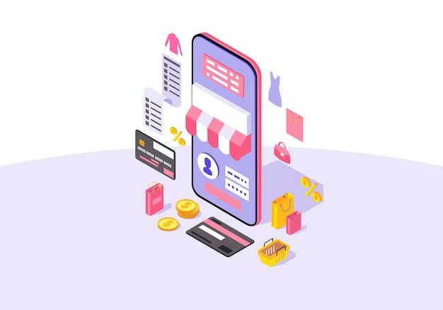 Illustrazione isometrica di vettore di colore di app di acquisto mobile online Vettore Premium