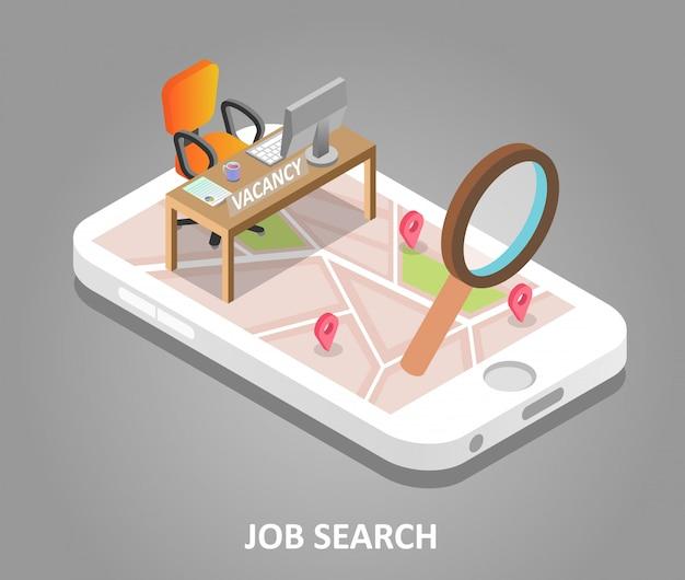 Illustrazione isometrica di vettore di ricerca di lavoro online Vettore Premium