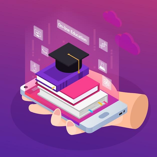 Illustrazione isometrica educazione online Vettore gratuito