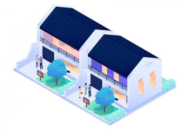 Illustrazione isometrica esteriore interna di progettazione di vettore della città della residenza della camera Vettore Premium