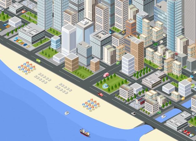 Illustrazione isometrica grande città Vettore Premium