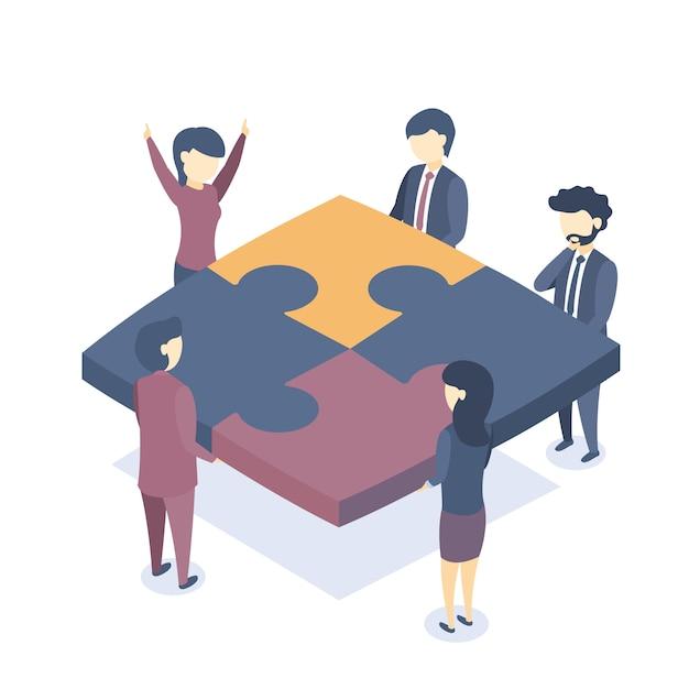 Illustrazione isometrica il lavoro di squadra aziendale. Vettore Premium