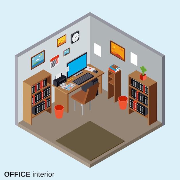 Illustrazione isometrica interna 3d di stile piano interno del posto di lavoro dell'ufficio Vettore Premium