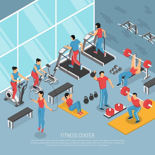 Illustrazione isometrica interna del centro fitness Vettore gratuito