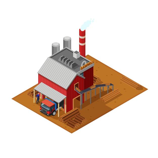 Illustrazione isometrica lumberjack Vettore gratuito