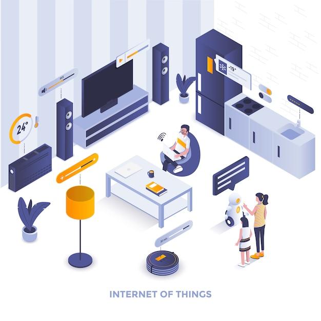 Illustrazione isometrica moderna di colore piano - internet delle cose Vettore Premium