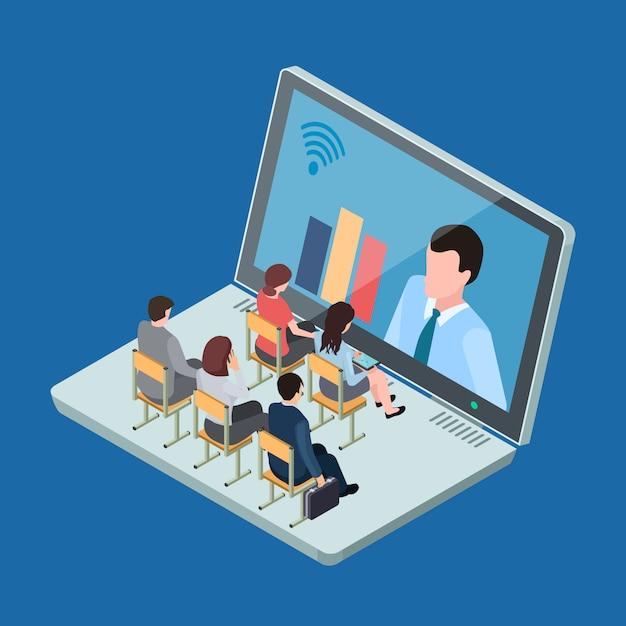 Illustrazione isometrica online di concetto di vettore di addestramento di affari o di istruzione Vettore Premium