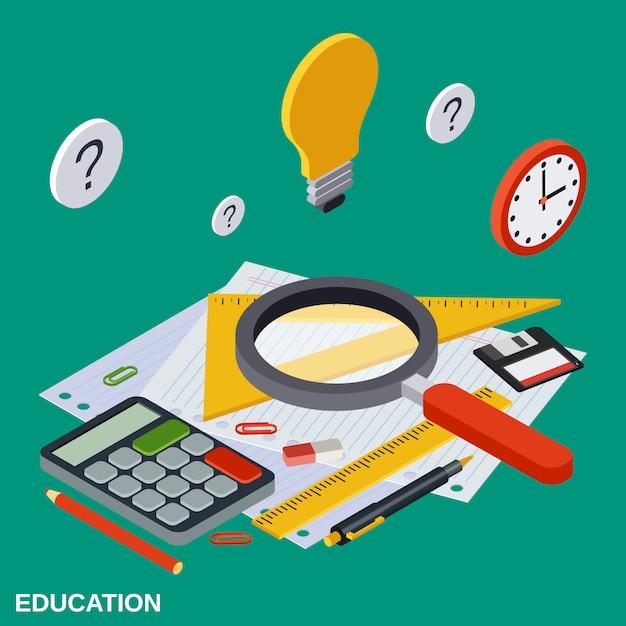 Illustrazione isometrica piana di concetto di vettore di istruzione scolastica Vettore Premium