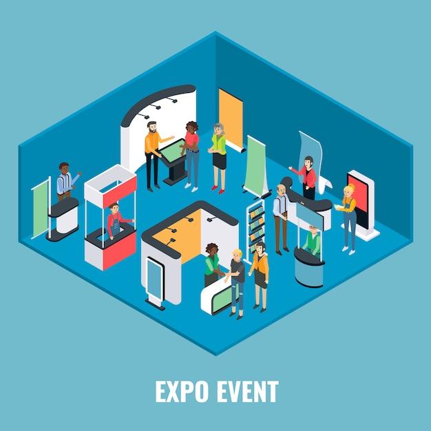 Illustrazione isometrica piatta di evento expo Vettore Premium