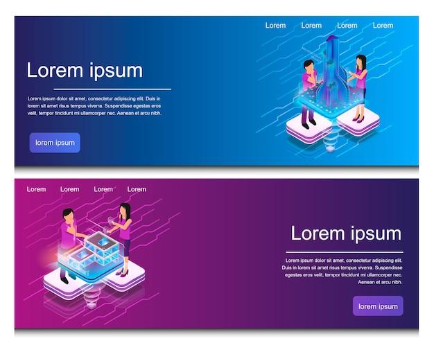 Illustrazione isometrica progettazione di edifici virtuali Vettore Premium