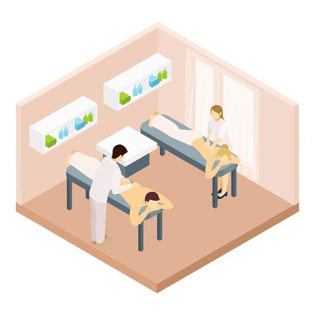 Illustrazione isometrica sala massaggi Vettore gratuito