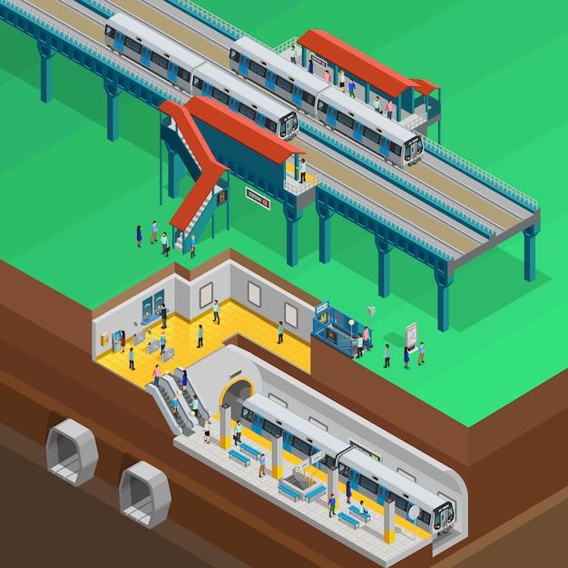 Illustrazione isometrica sotterranea Vettore gratuito