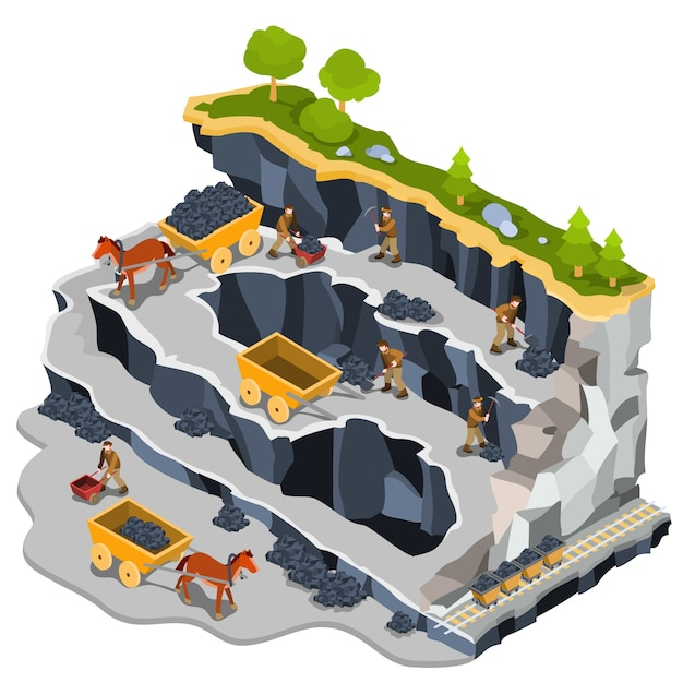 Illustrazione isometrica vettoriale cava mineraria di carbone Vettore gratuito