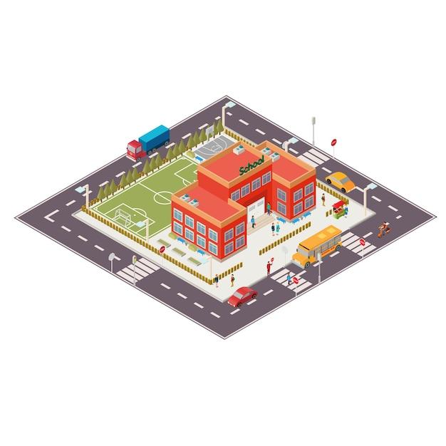 Illustrazione isometrica vettoriale di edificio scolastico Vettore gratuito