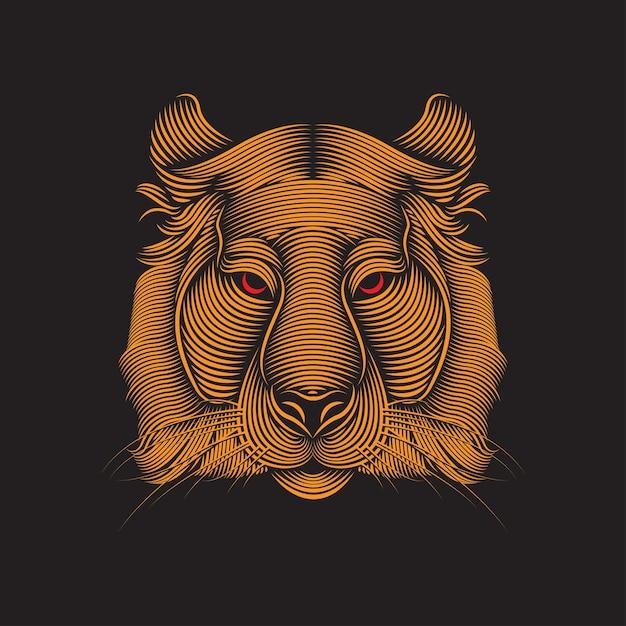 Illustrazione linea arte tigre Vettore Premium