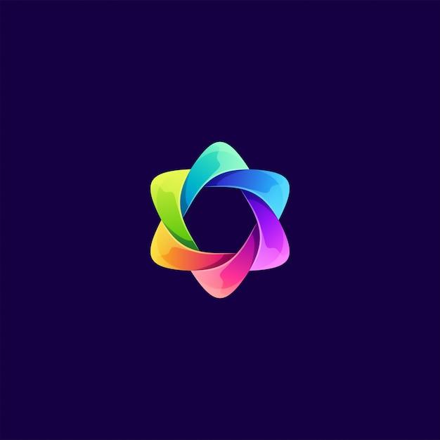 Illustrazione logo colorato astratto Vettore Premium