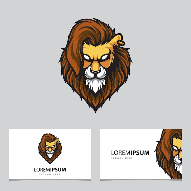 Illustrazione logo testa di leone Vettore Premium