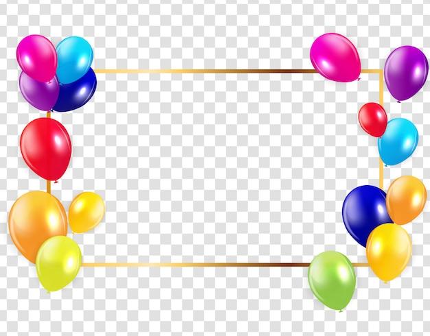 Illustrazione lucida di vettore del fondo dei palloni di buon compleanno Vettore Premium