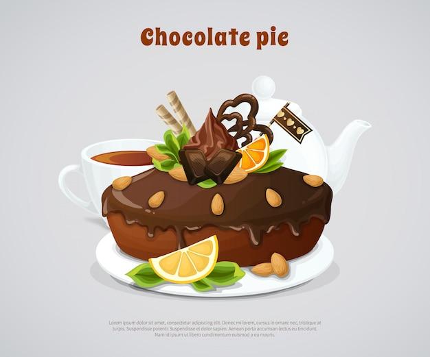 Illustrazione lustrata della torta del cioccolato Vettore gratuito