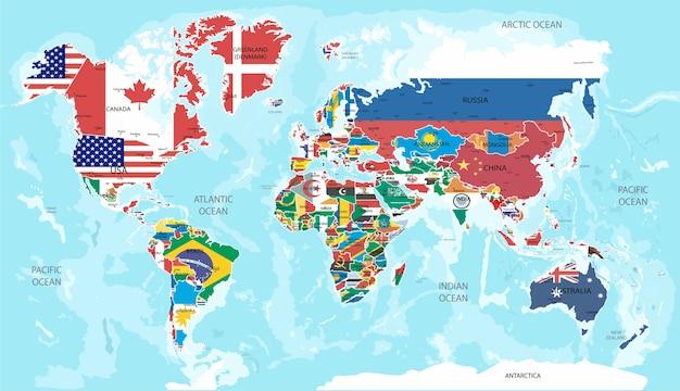 Illustrazione - mappa del mondo con le bandiere di tutti i paesi. Vettore Premium