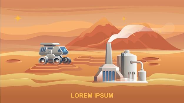 Illustrazione mars colonization first astronaut Vettore Premium