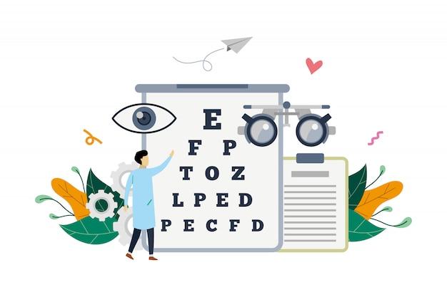 Illustrazione medica del controllo di vista dell'oftalmologo sull'illustrazione Vettore Premium