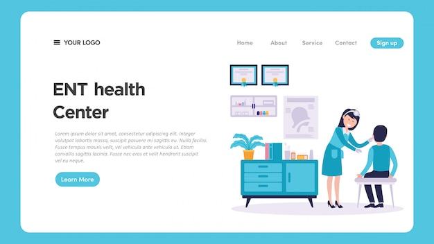 Illustrazione medica del controllo medico di otorinolaringoiatria ent per la pagina web Vettore Premium