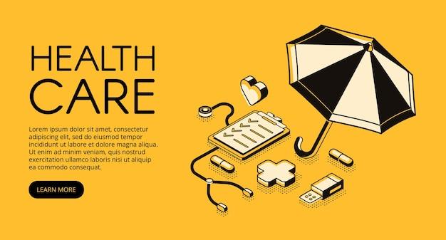 Illustrazione medica di assistenza sanitaria per la clinica o il servizio ospedaliero. Vettore gratuito