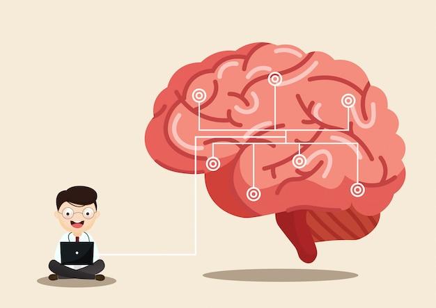 Illustrazione medica scientifica del colpo di cervello umano Vettore Premium