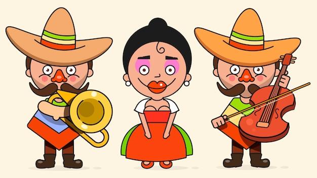 Illustrazione messicana dei musicisti con due uomini e una donna con le chitarre in vestiti indigeni e nel sombrero piano Vettore Premium