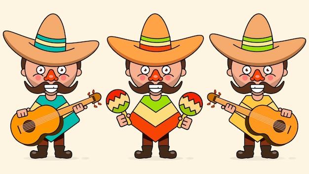 Illustrazione messicana di vettore dei musicisti con tre uomini con le chitarre nei vestiti natali e nel vettore piano del sombrero Vettore Premium