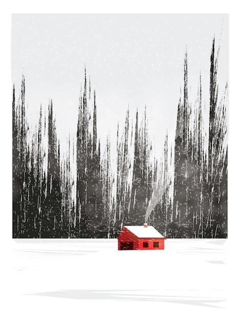 Illustrazione minima del paesaggio della campagna in inverno Vettore Premium