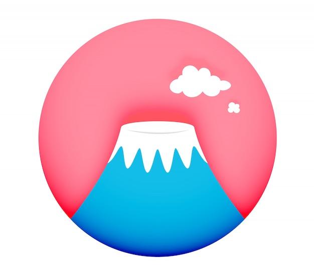 Illustrazione minima di vettore di stile di arte di carta di concetto di simbolo di fuji della montagna Vettore Premium