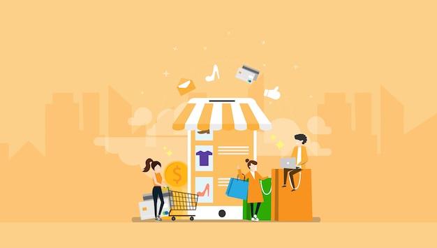 Illustrazione minuscola del carattere della gente di commercio elettronico online di acquisto Vettore Premium