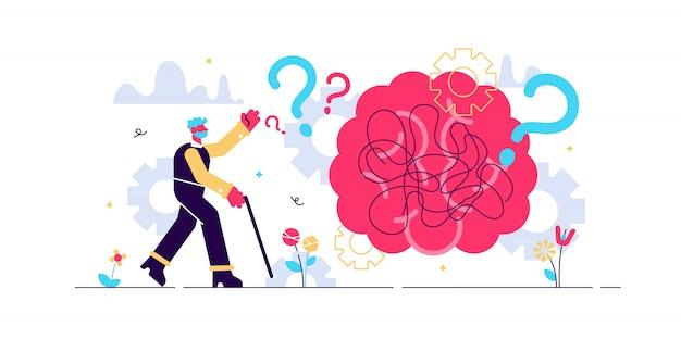 Illustrazione minuscola di concetto della persona di disturbo di salute di demenza. cervello con pensieri e ricordi stilizzati che si confondono e lasciano la testa umana. persona anziana con punto interrogativo e bastone da passeggio. Vettore Premium
