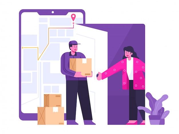 Illustrazione mobile di concetto di servizio di distribuzione Vettore Premium