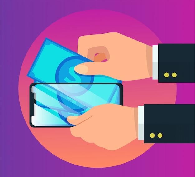 Illustrazione mobile di vettore di pagamento del portafoglio elettronico Vettore Premium