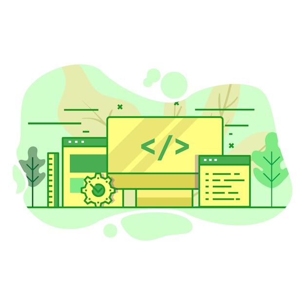 Illustrazione moderna di colore verde piano dello sviluppatore di web Vettore Premium