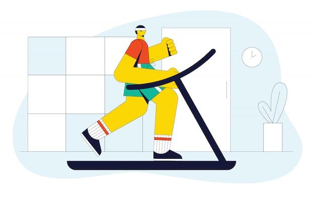 Illustrazione moderna di un uomo che corre su un tapis roulant. il ragazzo in palestra fa allenamento cardio. Vettore Premium
