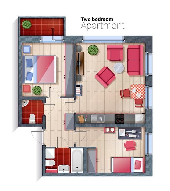 Illustrazione moderna di vista superiore dell'appartamento di due camere da letto di vettore Vettore Premium