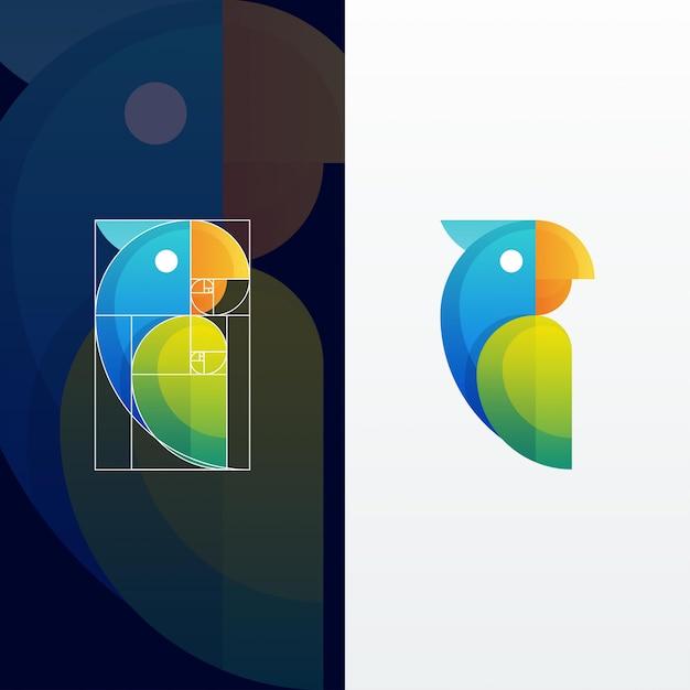 Illustrazione multicolore moderna pappagallo astratto con rapporto aureo Vettore Premium