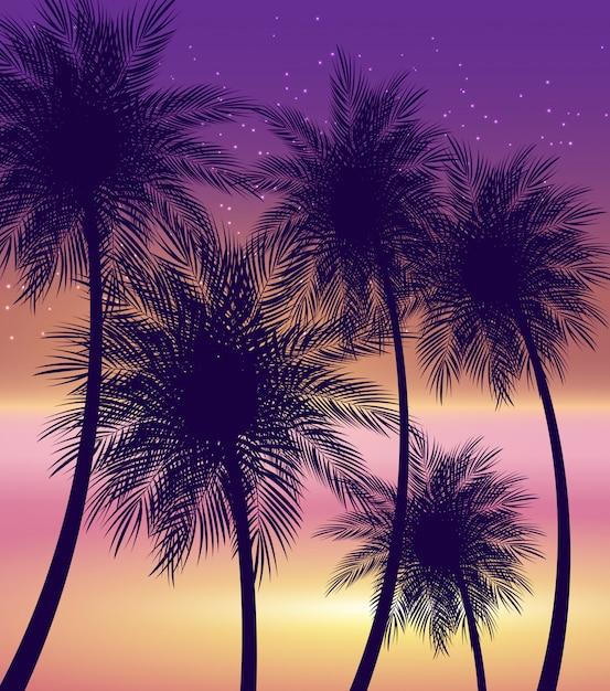 Illustrazione naturale di vettore del fondo della palma di estate astratta Vettore Premium